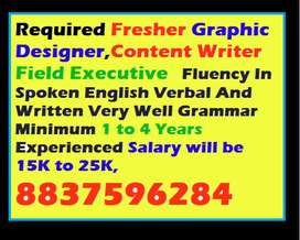 Required Fresher Graphic Designer,Content Writer Field Executive   Mus
