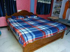 New teak wood (7×7) king size bed with mattress