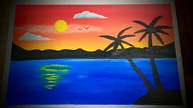 Painting on canvas (wall hanging) scenery