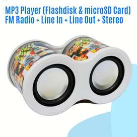 Portable Music Box MP3 Player + Radio FM + Aux In Stereo Suara Ngebass