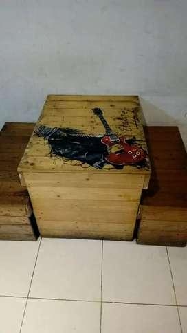 Meja kayu unik kuat 1set
