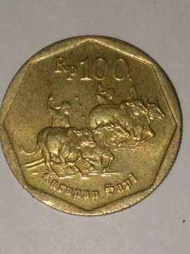 012= Uang Koin indonesia 100Rupiah Karapan Sapi Langka Tahun 1998