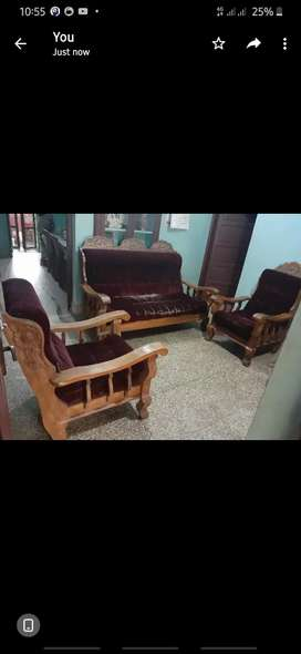 Sofa set made of teak wood available at low price.