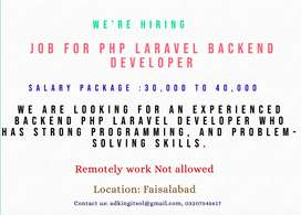 Job For Backend PhP Laravel Developerin Faisalabad