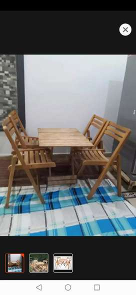 Wooden chair table set 4 chair 1 table New