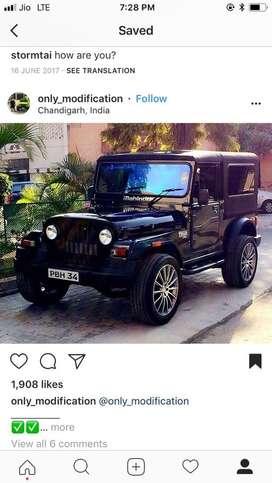 mahindra thar black color 4x4 modified