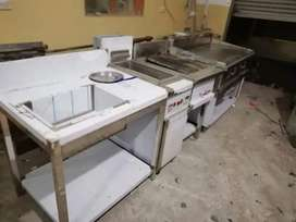 Double Fryer With Chipdum / Sizzling Automatic Blower System
