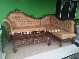 Sofa sudut jati clasic ukir meja ketapang