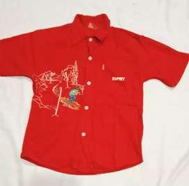 Kemeja anak ESPRIT asli Katun Merah Size L 6-8 tahun murah