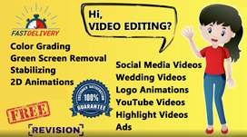 Professional video editing ,Logo animation and Graphic Designing