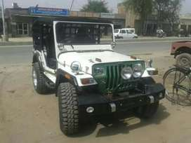 Green painted white Jeep