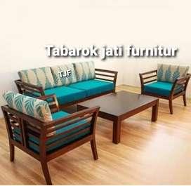 Sofa minimalis mewah & moderen, 3.2.1, bahan kayu jati asli 100%