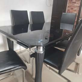 Dining Table(glass top) with 6 chairs