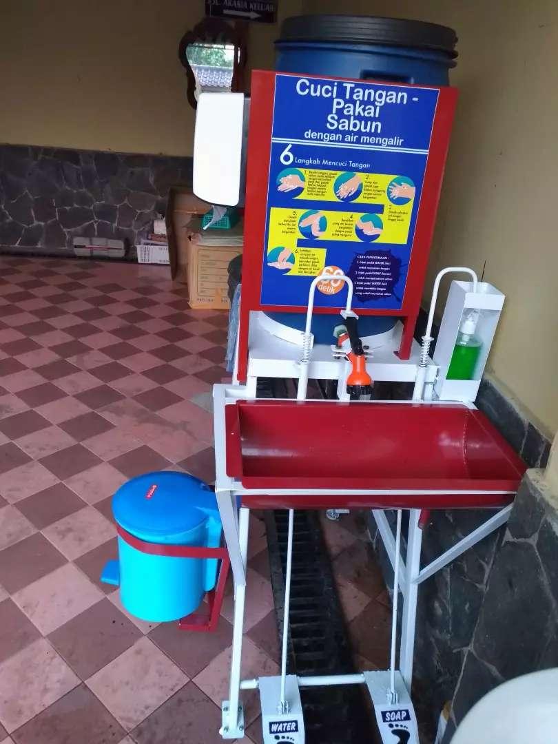 Wastafel Portable Injak Komplit, Tmpt Tisue,Tong Sampah,Botol sabun 0