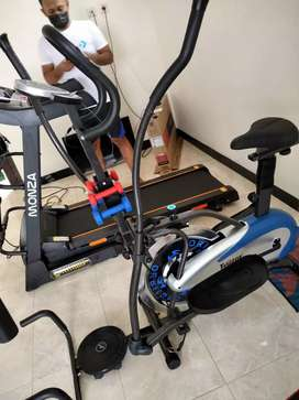 Sepeda Fitnes Aerobic 5 fungsi new Orbitrek plat+ dumble