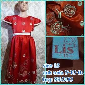Dress anak satin merah nrand LIS