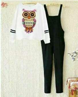 Baju X4 - Set kodok owl putih