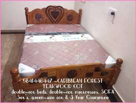 QUEEN SIZE Caribbean Forest Teak Wood STRONG Build COT with Wholesale
