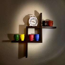 Wall Shelf with clock and painted crafts