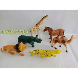 Mainan Hewan/ Binatang Bahan Karet - Animal Set (6 Pcs) - Murah Awet