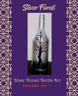 Bottle Art Silver forest.
