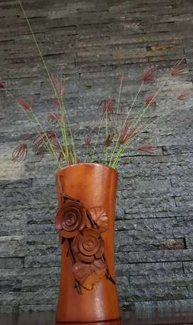 Vas bunga kayu jati (dapat 2 pc)