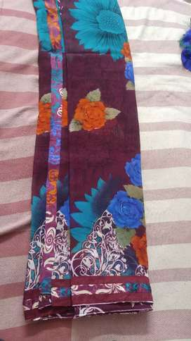 New Brinjal color saree with brasso blouse