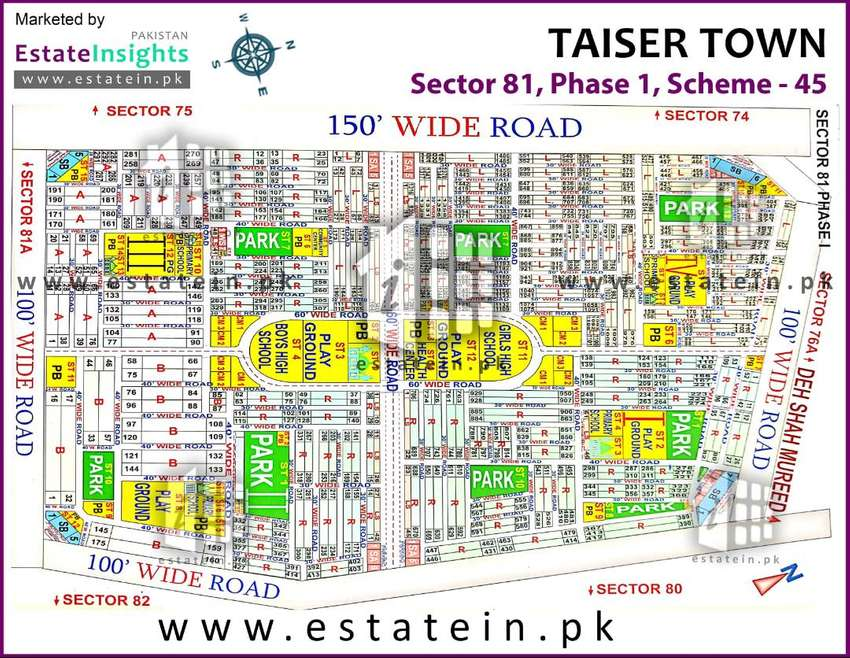 taiser town plot for sale in scheme 45 0