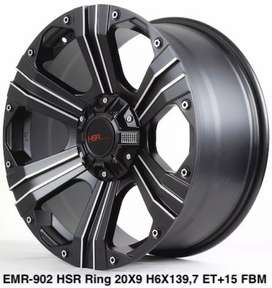 Velg HSR Emr902 R20*9 H5*114 Black lip face