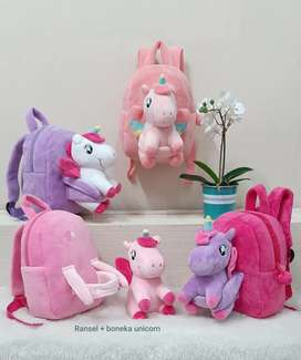 Tas Ransel+Boneka Unicorn 26cm