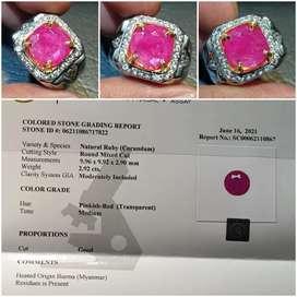 Batu Ruby Burma Myanmar Heat A Sertifikat 2.92 crt