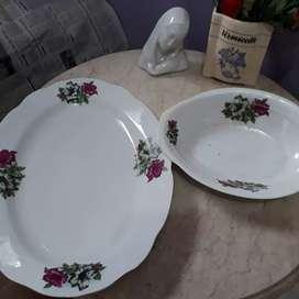 Piring Oval/ Lodor dan Mangkok Oval Bunga Kangkung Kuno