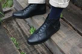 Sepatu boot pria kulit asli sepatu pantofel kerja kantor model Bruno