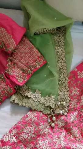 Pink and green Lehnga