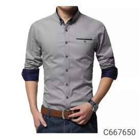 Cotton solid slim fit casual shirt