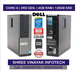 Dell Core i3 Cpu with 128gb SSD + 4gb ram only 9999/- Refuribhsed Cpu