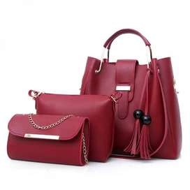 Imported High Quality Leather 3Pcs Bag Sets at Wholesale price