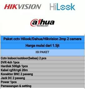 Paketan cctv + pasang, merk dahua hilook hikvision bisa online/tv