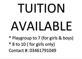 Tution availble in B2 johar town