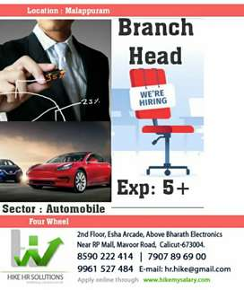 Hiring Branch Head for Automobile firm
