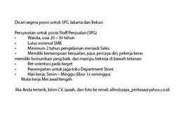 Dibutuhkan SPG/SPB Segera Jakarta!