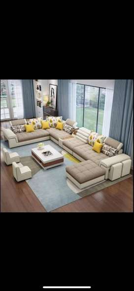 Brand new 10 seater sofa set direct from factory in cream color