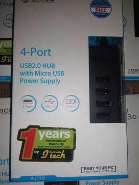 USB Hub 4in1 Port 2.0 Orico W5P-U2 with Micro USB Power Supply