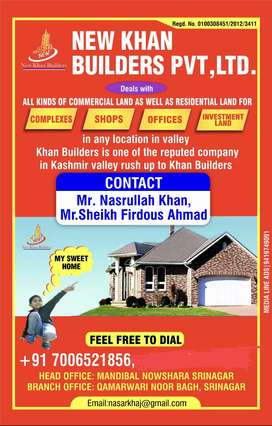 All kinds of commercial as as residential with in Srinagar city