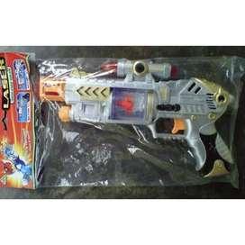 mainan tembak anak bunyi plus laser