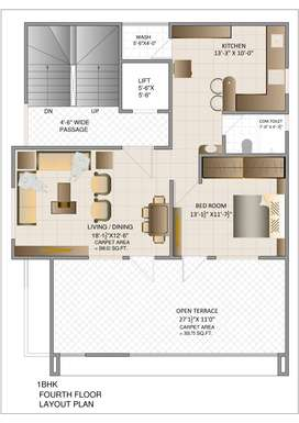 18Lac 1BHK Flat With Tarrace