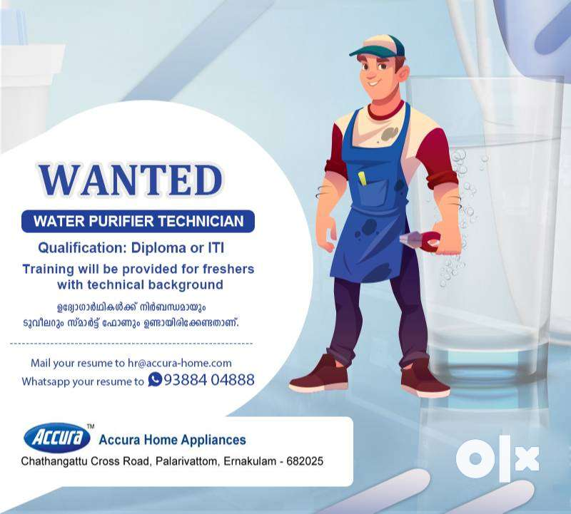 Wanted Water purifier technicians urgently 0