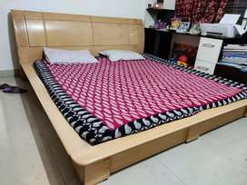 Super king size sturdy wooden bed with storage, excellent condition