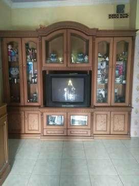 Lemari tv kayu mahoni