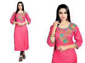For Women's Beautiful Embroidery work Pure Linen Straight Kurti